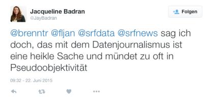 Twitter-Post von Jaqueline Baran vom 22.Juni 2015